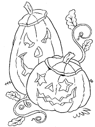 2 pumpkins halloween coloring pages for kids free printable