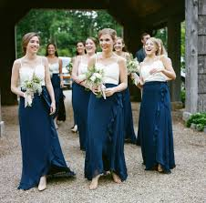 two piece navy and white joanna august bridesmaid dresses