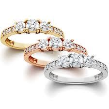 three stone engagement rings 1 ct 3 stone diamond engagement ring in 14k white yellow rose