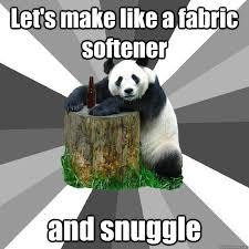 Snuggle Meme - let s make like a fabric softener and snuggle pickup line panda