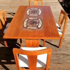 Solid Teak Dining Table Mid Century Danish Ox Art Table Chairs Modern Danish Tile Top