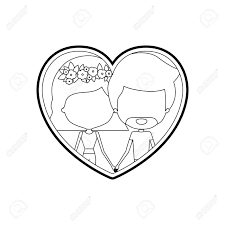 hhort haircut sketches for man sketch silhouette heart shape with caricature faceless couple