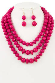 pink necklace set images Hot pink beaded necklace set sandi 39 s styles jpeg