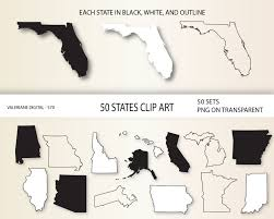 50 States Blank Map by State Of Florida Outline Clip Art 17