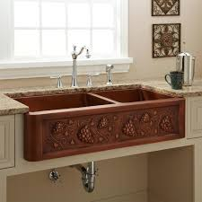 kitchen accessories copper apront front kitchen sink with single double bowl copper kitchen sink with fruits pattern and polished chrome faucet plus sidespray