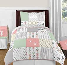 twin bedding girl amazon com coral mint and grey woodsy deer girls 4 piece kids