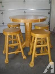 Oak Bistro Table Solid Oak Pub Table 4 Bar Stools Claw Cool For Sale In