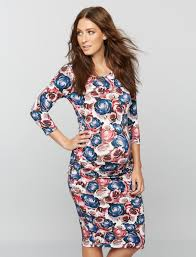 isabella oliver rose print maternity shirt dress a pea in the