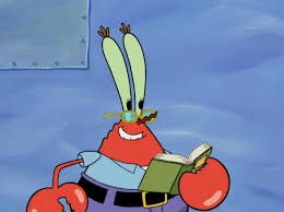 image mr krabs wearing glasses u0026 holding a book png