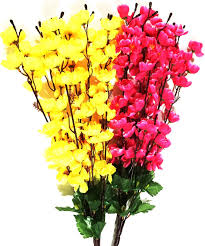 britenova yellow pink orchids artificial flower price in india