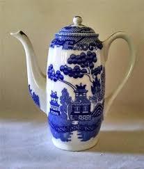 willow pattern jam pot blue willow demitasse coffee pot chocolate pot made in japan vintage