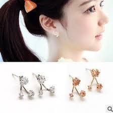 two way earrings fashion korean japanese orange white flower two