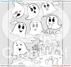 halloween black and white background lineart clipart of a cartoon black and white halloween haunted