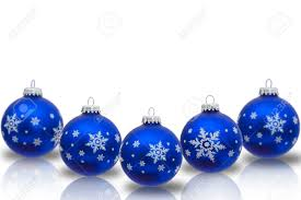 blue ornaments with snowflakes isolated on white stock
