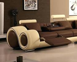 impressive sectional sofas with cup holders dark brown elegant