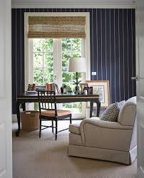 Striped Roman Shades Home Office Study Navy White Stripe Wallpaper Black Lacquer