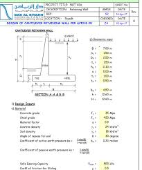 design of cantilever retaining wall as per aci 318 05 civil