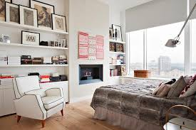 bedroom witching bookshelf design in bedroom with white wooden