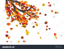 abstract autumnal background flying maple leaves stock vector