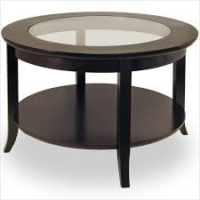 Wood Round End Table Round Wood Coffee Table With Glass Top In Dark Espresso Round