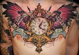 colorful clock with wings and on chest