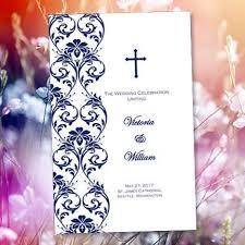 Wedding Program Catholic Catholic Church Wedding Program Damask Navy Blue Wedding