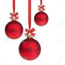 three red christmas balls hanging on ribbon with bows isolated