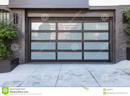 2 Car Garage by 2 Car Garage Door With Frosted Glass Stock Photo Image 94086942