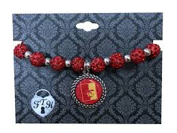 red bead bracelet images Pitt state round bead bracelet with charm red silver jocks nitch png