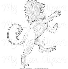 clipart of a leo the lion growling and facing right astrological