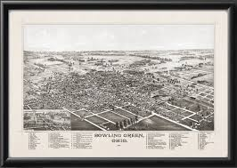 Bowling Green Ohio Map by Bowling Green Ohio 1888 Bird U0027s Eye View Map Vintage City Maps