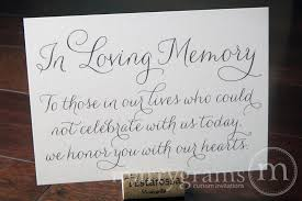 wedding memorial sign in loving memory wedding memorial sign thin style