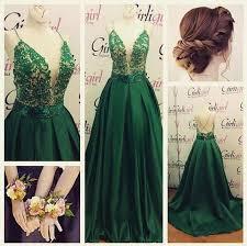 emerald green lace satin prom dresses spaghetti straps open back