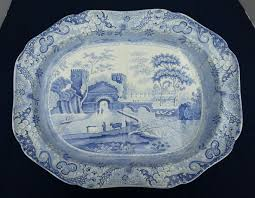 a spode transfer printed castle pattern tree and well platter