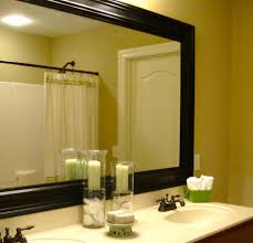 Frames For Bathroom Wall Mirrors Bathroom Wall Mirror With Black Painted Wooden Frame Mixed White