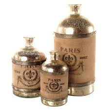 french country paris wrapped burlap mercury glass bottle set of 3