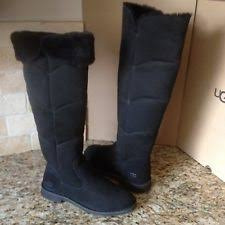 womens fur boots size 9 ugg australia devandra the knee bomber suede black fur boots