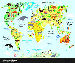 World Map For Kids World Religion Map For Kids Cartoon With Animal And Sightseeing
