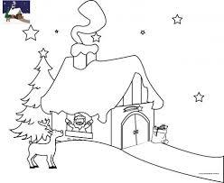 Coloriage La maison du Père Noël en Laponie à imprimer pour les enfants
