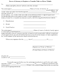 power of authority template power of attorney to register or transfer title to a motor vehicle
