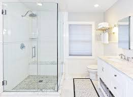 bathroom chair rail ideas corner walk in shower with chair rail tiles transitional bathroom