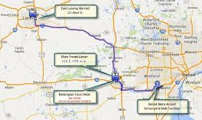 detroit metro airport map michigan flyer schedule route