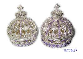 jewelry box favors wedding favors guest gift box purple ivory crown metal