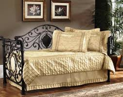 daybed light cream bedding idea for black coated metal daybed