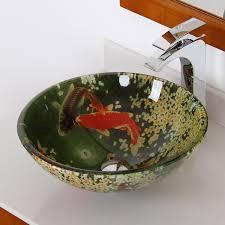 fontaine koi and lily pond glass vessel bathroom sink amazon com