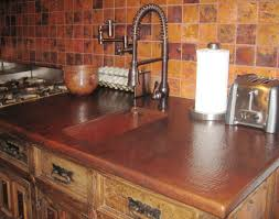 kitchen with copper countertops and square backsplash aesthetic