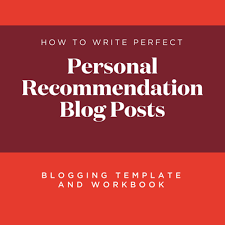 blogging template and workbook personal recommendation blog posts