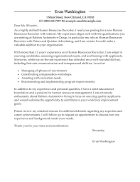 cover letter examples for recruiter position 2877