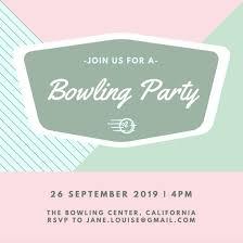 bowling invitation templates canva