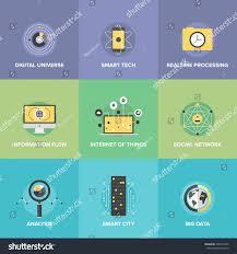 flat icons set smart futuristic communication stock vector